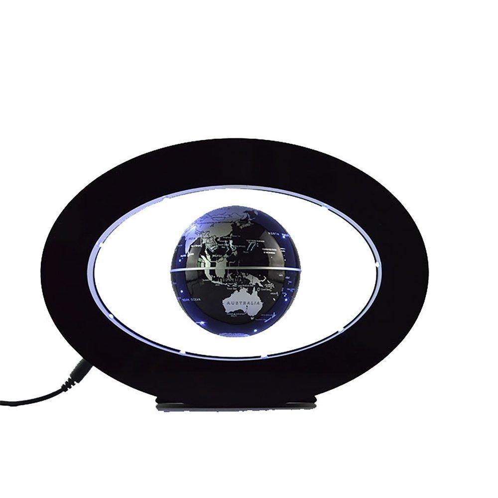 ConPush Decoration Magnetic Levitation Floating Globe World Map with LED Light and Magnetic Field Sensor (Black)