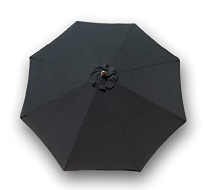 Formosa Covers Replacement Umbrella Canopy For 9ft 8 Ribs, Black Olefin ( Canopy Only)