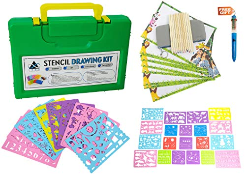 Drawing Stencil Set for Kids - 45 Piece, Unique Plastic Stencil Kit, 350+ Shapes & Designs | Ultimate DIY Arts & Crafts, Creative & Educational Travel Activity | Ideal Toy Gift Boys & Girls Ages 3+