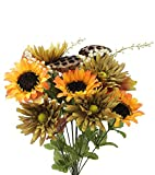 Admired By Nature GPB6409-GD/SAGE 14 Stems Artificial Sunflower, Gerbera Daisy And Lotus Root Mixed Flowers Bush For Home Office, Wedding, Restaurant Decoration Arrangement, Gold/Sage