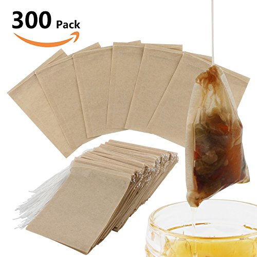 300PCS Tea Filter Bags, Disposable Paper Tea Bag with Drawstring Safe Strong Penetration Unbleached Paper for Loose Leaf Tea and (Disposable Paper Filter Bag)