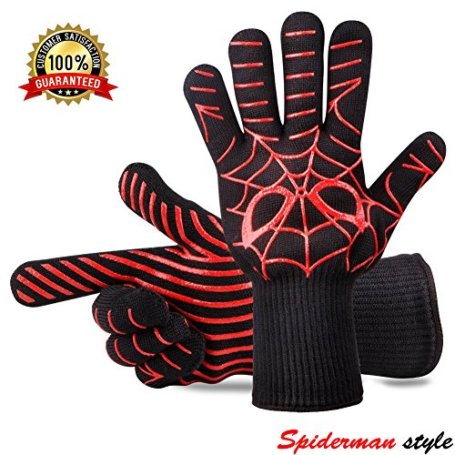 Panshi BBQ Gloves,932°F Heat Resistant Grilling Oven Glove,Kitchen Cooking Mitts with Forearm Protection,Non Slip Silicone Insulated Coating Grill Gloves, Spider Man Pattern(1 Pair) by Panshi-HomeTools Master