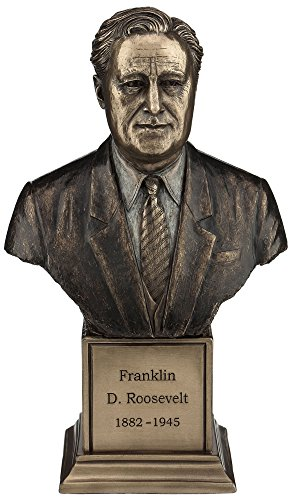 (Resin Statues American President Franklin D. Roosevelt Bronze Finish Statue On Plinth 8 Inch 4.75 X 7.5 X 3.25 Inches Bronze)