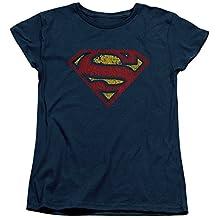 Superman DC Comics Superhero Cracked Classic S Shield Logo Women's T-Shirt Tee