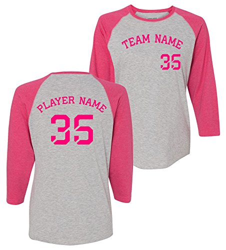 Custom Kamal Ohava Women's Vintage Personalized Baseball Tee, Hthr/Hot Pink, S (Tee S/s Custom Womens)