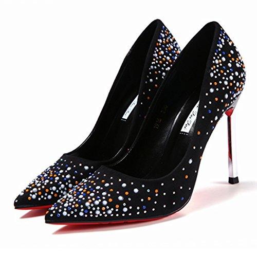 KHSKX-Mode - Gepunktete Damenschuhe Flachen Mund Haben Sterne Übersät Mit Sternen Modische Schuhe Mit Hohen Absätzen Herbst Damenschuhe black