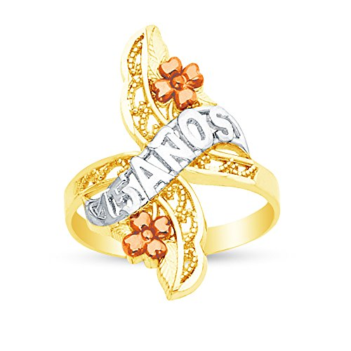 Size - 8 - 14k Rose Yellow & White Gold 15 Years Birthday Filigree Ring by Sonia Jewels
