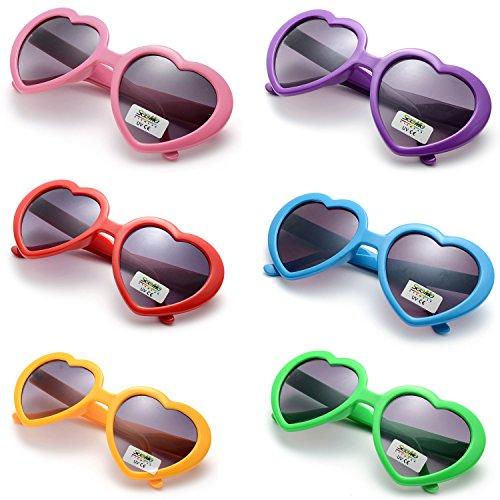 OAONNEA 6 Pack Neon Colors Party Favor Supplies Heart Shape Sunglasses (6 Pack Color)