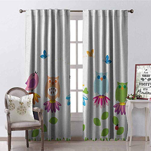 (GloriaJohnson Flowers Heat Insulation Curtain Colorful Cartoon Style Birds on Chamomile Daisy Flowers Butterflies Ladybugs Kids for Living Room or Bedroom W52 x L108 Inch Multicolor)
