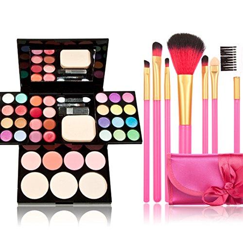 Jocestyle 7 Pcs Cosmetic Brushes + 1 Pcs Makeup Palette Set with Eyeshadow Lip Gloss Lipstick Foundation Powder Blush Cream Tool Kit