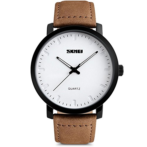 Mens Unique Leather (Mens Unique Analog Quartz Waterproof Business Casual Leather Band Dress Wrist Watch with Simple Fashion Classic White Time Mark Design, Key Scrath Resitant Face, 98FT 30M Water Resistant - White)