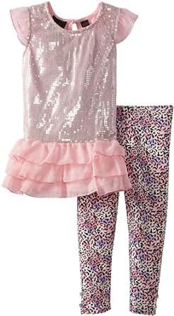Self Esteem Little Girls' Short Sleeve Sequin Front Drop Wait Leg Set, Pink, 4