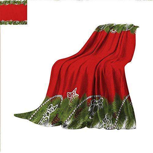 Christmas Weave Pattern Extra Long Blanket Noel Time Celebratory Icons Spiral Ornament Coniferous Spruce Angel Figures Custom Design Cozy Flannel Blanket 60
