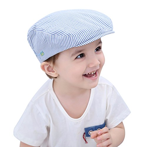 XIAOHAWANG Kids Boy Sun Hat Toddlers Sunscreen Cap Striped Cotton Plane Embroidery Summer