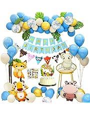 APERIL Feliz Decoracion Cumpleaños 1 Año Fiesta Cumpleaños Infantil Globos Cumpleaños Niño Happy Birthday Decoracion con Hojas de Palma Bosque Animal Latex Globos para Baby Shower Decoración 2 3 4 Año