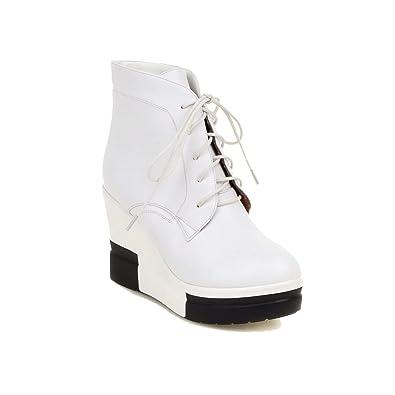 VogueZone009 Damen Blend-Materialien Niedrig-Spitze Rein Ziehen auf Hoher Absatz Stiefel, Weiß, 40
