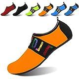 JOINFREE Women's Men's Kid Quick-Dry Water Sports Beach Swim Shoes Barefoot Aqua Footwear Tape Orange Large