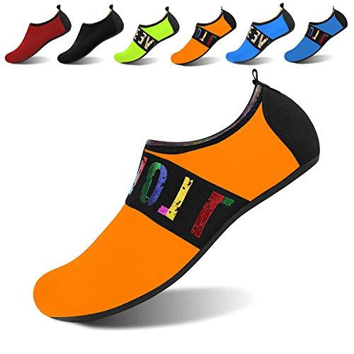 JOINFREE Women's Men's Kid Aqua Footwear Quick-Dry Water Sports Beach Swim Shoes Barefoot Tape Orange X-Large