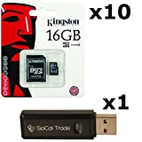 micro sd car 16gb - 10 PACK - Kingston 16GB MicroSD HC Class 4 TF MicroSDHC TransFlash Memory Card SDC16/16GB 16G 16 GB GIGS (M.A16.RTx10.550) LOT OF 10 with USB SoCal Trade© SCT Dual Slot MicroSD & SD Memory Card Reader - Retail Packaging