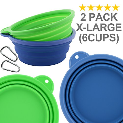 Roysili Extra Large Collapsible Dog Bowl  7 7  51Oz   Bpa Free Travel Bowl For Dog Cat Food Water  Foldable Cup Dish Feeder  Portable Travel Dog Bowl For Camping   Hiking  X Large  Blue Green