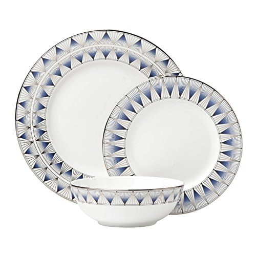 Lenox 869063 3 Piece Geodesia Place Setting Dinnerware Set, Blue