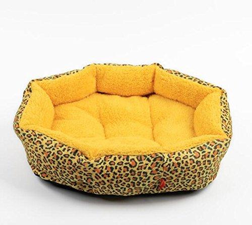 Lit pour Animaux de Compagnie Confortable et sécur Leopard Imprimer Coton Pet Chien Chat Polaire Lit Chaud Maison Peluche Cosy Nest Mat (Golden) Mings