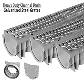 Source 1 Drainage Trench U0026 Driveway Channel Drain With Galvanized Steel  Grate   3 Pack