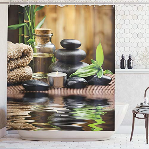 Ambesonne Spa Decor Shower Curtain, Asian Zen Massage Stone Triplets with Herbal Oil and Scent Candles, Fabric Bathroom Decor Set with Hooks, 70 Inches, Sand Brown]()