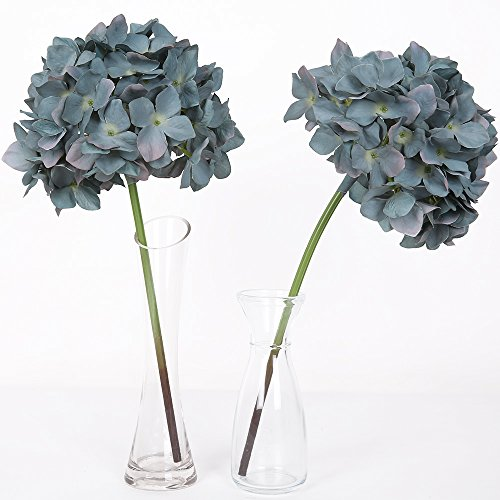 Luyue 15'' Artificial Silk Hydrangea Flowers Bounquet Home Wedding Party decor,Pack of 2 (Blue)