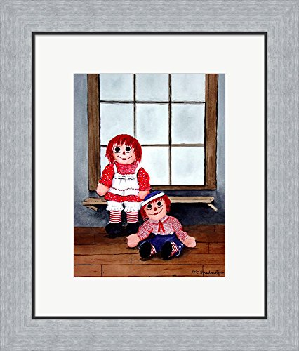 Raggedy Ann and Andy by Arie Reinhardt Taylor Framed Art Print Wall Picture, Flat Silver Frame, 17 x 20 inches