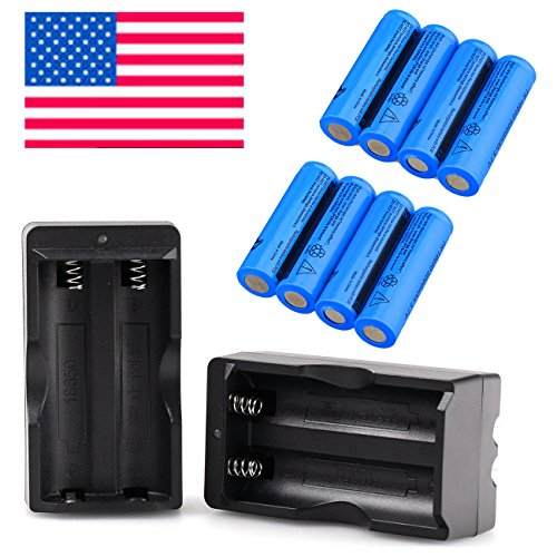 HeCloud 8PCS Rechargeable 18650 Battery with 2PC Dual Smart Charger, 3.7V (Mod Battery)