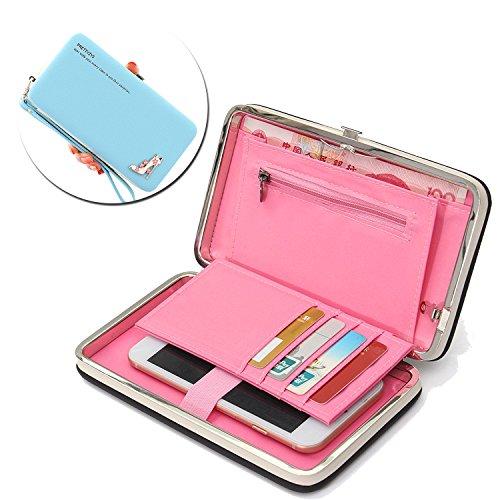 Caja de la cartera del teléfono, Vandot Estilo Largo Multiusos del Embrague del Cuero Bolso del Diamante de los Talones de la Caja del Teléfono Móvil del Monedero para el iPhone 8 / iPhone 8 Plus / iP Sky Blue