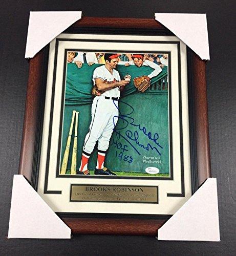 Brooks Robinson Memorabilia - Brooks Robinson Autographed Norman Rockwell Orioles 8x10 Photo Framed Coa - JSA Certified - Autographed MLB Photos