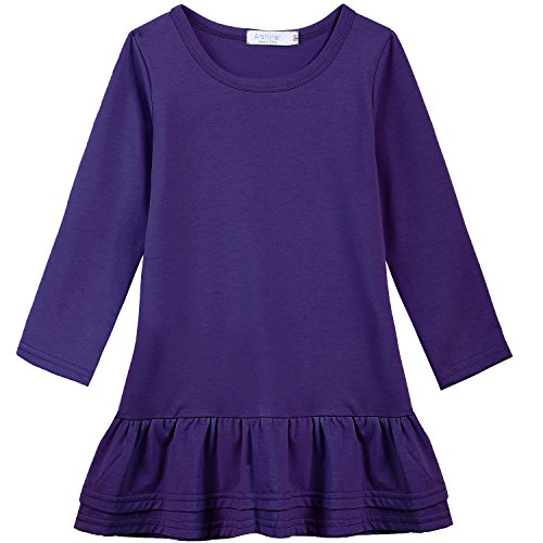 Arshiner Girls Cotton Long Sleeve A-Line Ruffle Hem Dress for School, Purple, 70(Age for 1-1.5Years)