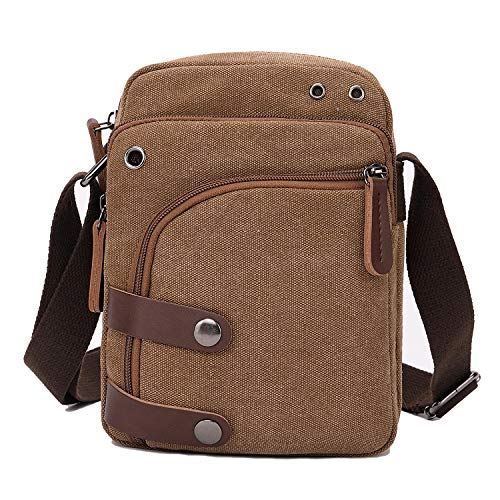 Price comparison product image Small Canvas Messenger bag Cell Phone Purse Wallet Travel Crossbody Handbags for Men Women (Coffee)
