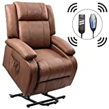 Homall Power Lift Recliner Chair with Massage Single Sofa Living Room Chair Huge Thick Padded Sofa Seat (Brown)