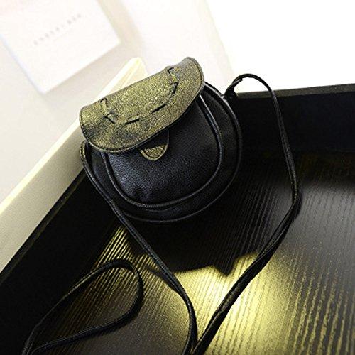 del PU de Crossbody Muchacha la niceEshop Negro Ajustable Negro Cuero TM del la de Delantera Bolsillo de Bolso Linda del Aa7xAYS