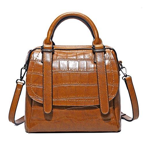 GHMM Bolsos de mano Bolsos de cuero Bolsas de cuero con cera de aceite Bolsas de cuero Bolsas de viaje en la calle (Color : Azul cielo) Loess color