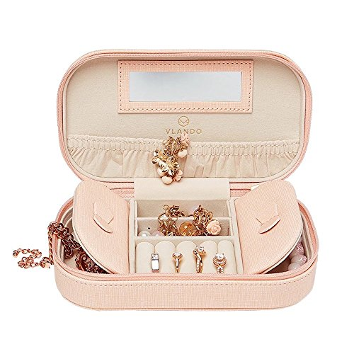 Earring Gift Boxes Leather (Vlando Travel Tassel Jewelry Box Organizer - Woman Girls Faux Leather Necklace Earrings Rings Organizer Holder (Pink))