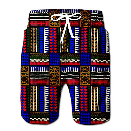 Tribal Ornament African Ethnic Carpet with Chevrons Aztec Pattern Style Geometric Drawstring Shorts Beach Baskestball Pants L