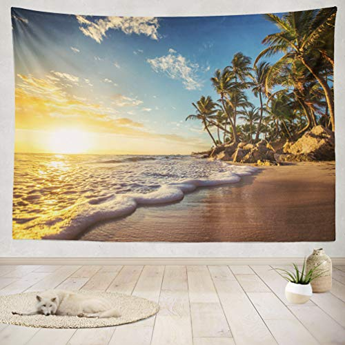 ASOCO Tapestry Wall Handing Palm Trees Tropical Beach Beach Landscape Island Tropical Paradise Nature Wall Tapestry for Bedroom Living Room Tablecloth Dorm 50X60 Inches]()