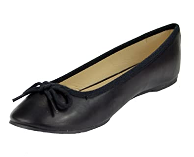 4fc8b50565375 Women's Classic Round Toe Black Ballet Slip On Flat with Bow