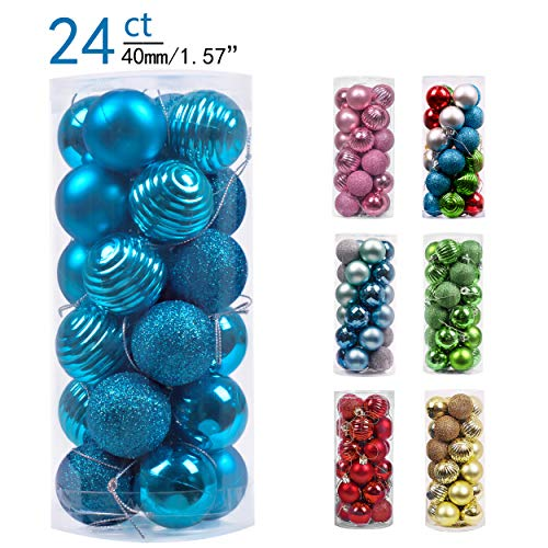 Valery Madelyn 24ct 40mm Essential Blue Basic Ball Shatterproof Christmas Ball Ornaments Decoration for Christmas Tree (Blue Ball Ornaments)