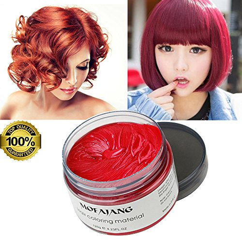 SOVONCARE Mofajang Red Hair Color Wax, Temporary Hairstyle Cream 4.23 oz Hair Pomades, Natural White Hairstyle Wax for Party, Cosplay, Halloween, Date (Red)]()