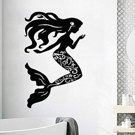 jiuyaomai Vinilo Tatuajes de Pared de Sirena Conchas Marinas ...