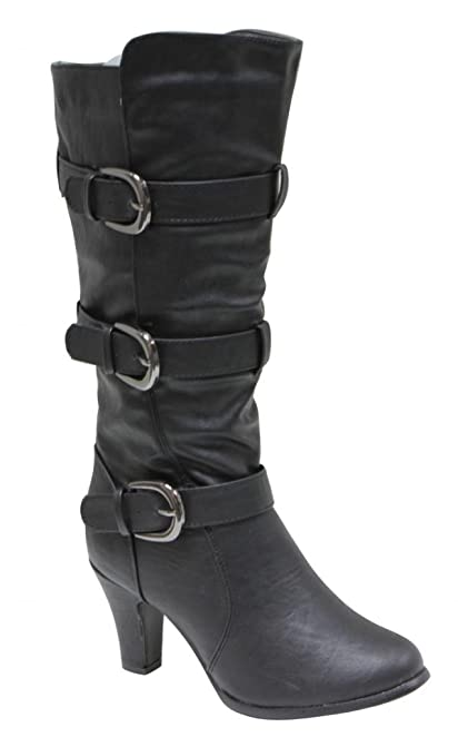 NB200-53 Women Mid Calf Triple Adjustable Buckle Side Zipper cone chunky Heel Ridding Boots