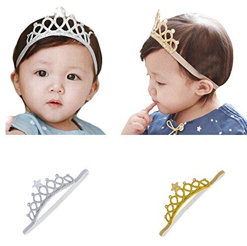 Price comparison product image Gellwhu 2pcs Baby Girl Crown Headband Head Wrap Hair Band Headwear Gold Silver