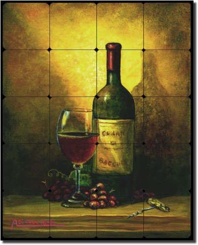 - Wine Shadow by Angelica Di Chiara Hardin - Wine Tumbled Marble Tile Mural 30