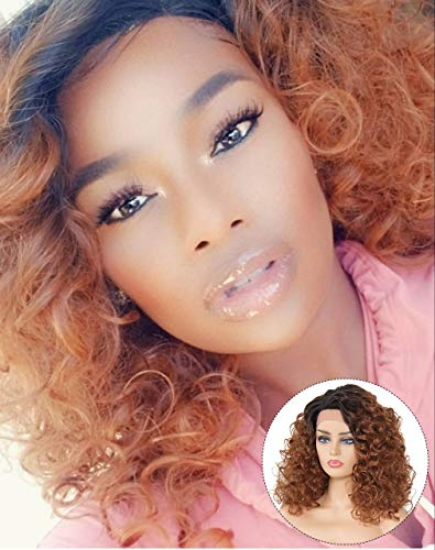 Longqi Ombre Auburn Brown Synthetic Wig - Loose Curly Heat Resistant Fiber Lace Front Wigs Brown Ombre 2 Tone Wig Side Parting Dark Roots 1B/30 Half Machine Made for Daily Use (20 Inches) ()