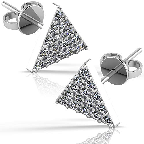 .925 Sterling Silver & Pavé-Set Cubic Zirconia Petite Stud Earrings - Perfect Triangle